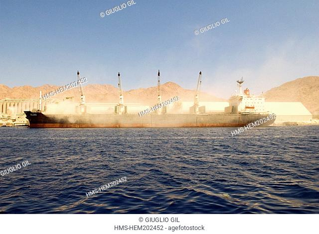 Jordan, Al Aqaba Governorate, Al Aqaba City, cargo in harbour at the South of the city