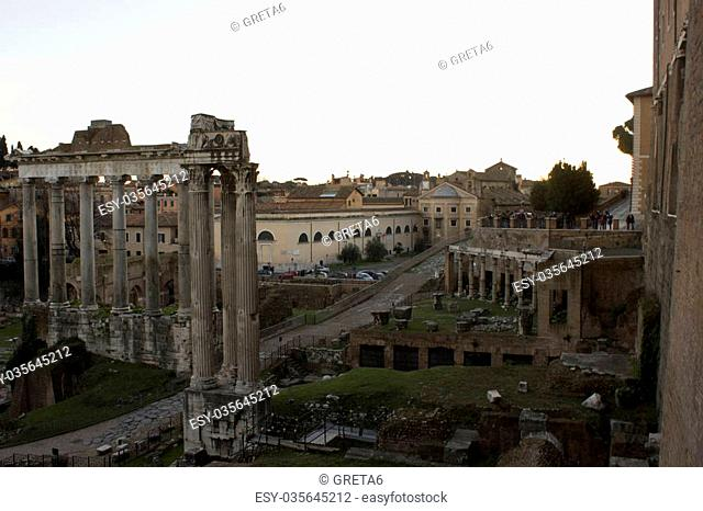 View from the top of the Roman Forum, Foro romano, in Rome, Italy