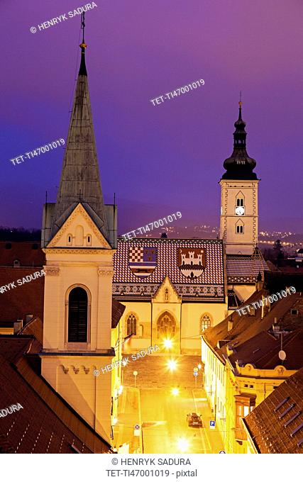 Illuminated St. Mark's Church and Cathedral of Sts. Cyril and Methodius
