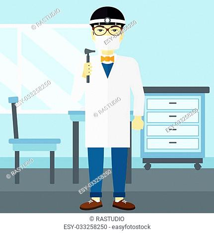 An asian doctor otolaryngologist on the background of medical office vector flat design illustration. Square layout