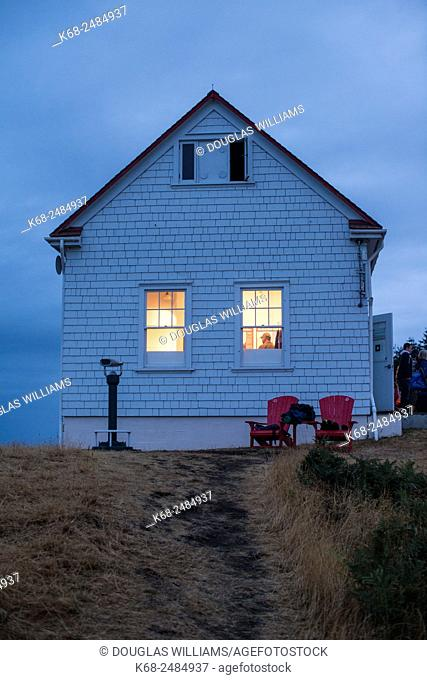 Fog Alarm Building, FAB, historic site at East Point Park on Saturna Island, Gulf Islands, British Columbia, Canada