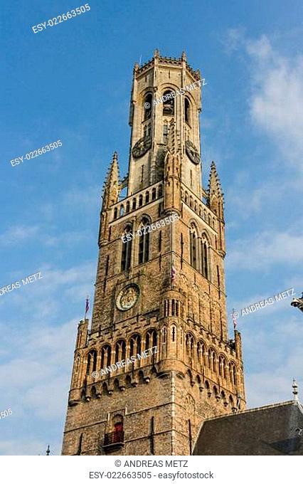 Bruges' medieval gothic clock tower
