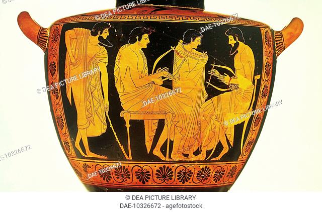 Greek civilization, 5th century b.C. Red-figure pottery. Attic hydria by Phintias portraying a music lesson  Monaco, Staatliche Antikensammlung (State...