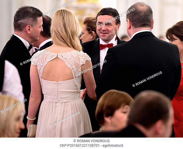 The Czech presidential couple, Ivana and Milos Zeman, hosts a ball at Prague Castle on Friday, January 22, 2016. Like a year ago