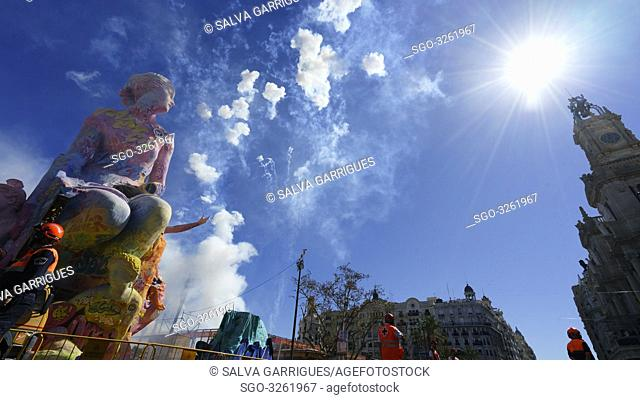 Mascleta, fireworks castle in the Plaza del Ayuntamiento in Valencia, Spain