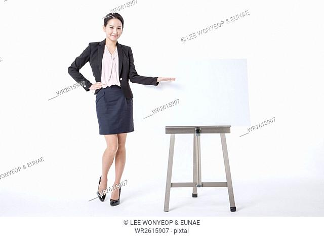 Smiling businesswoman having presentation