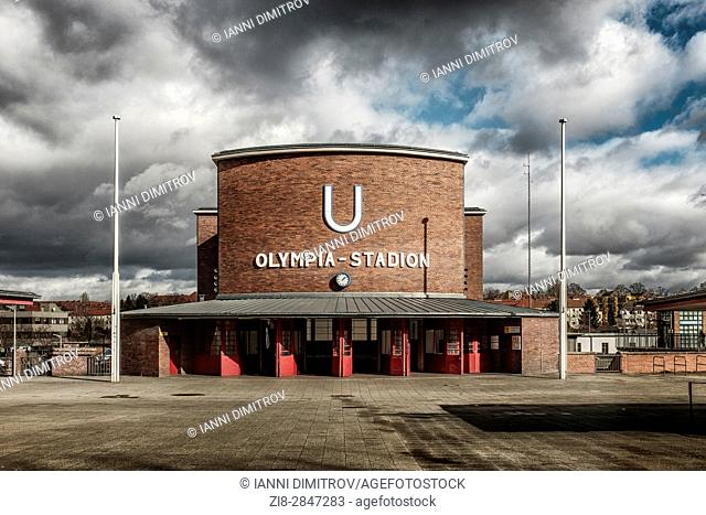 Berlin,Germany,The Olympia Stadion (Olimpic Stadium) Underground station,exterior
