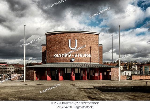 Berlin,Germany,The Olympia Stadion (Olimpic Stadium) Underground station,exterior