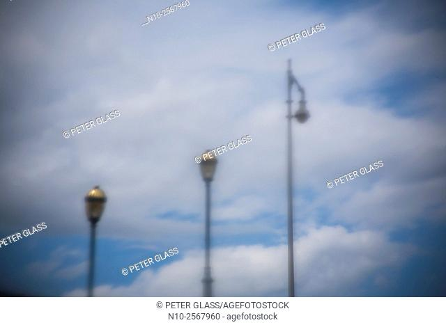 Streetlights on a cloudy day