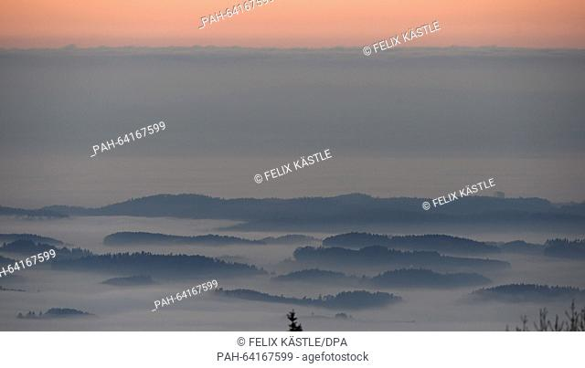 View of the forests in the Lake Constance region,Germany, shrouded in thick fog from Pfaender mountain, Austria, 02 December 2015