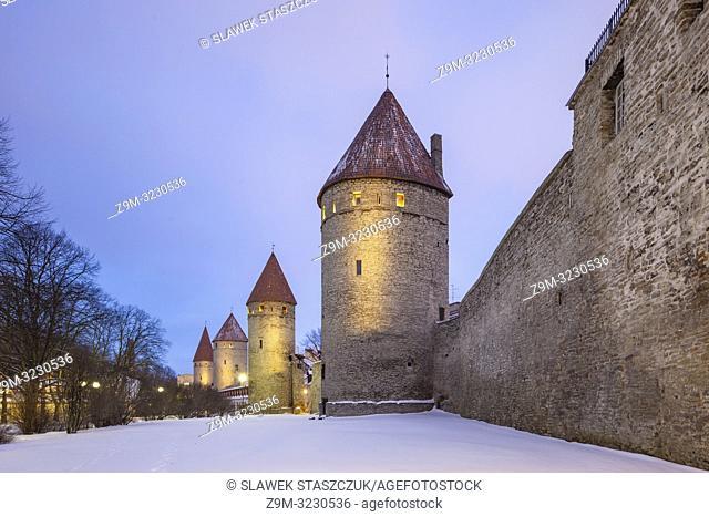 Winter evening at the city walls in Tallinn old town, Estonia