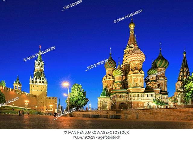 The Kremlin and Saint Basil's Cathedral at Dusk, Moscow, Russia