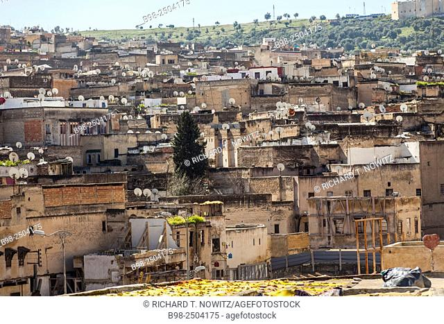 Rooftops and Satilite dishes in Medina if Fez, Morocco