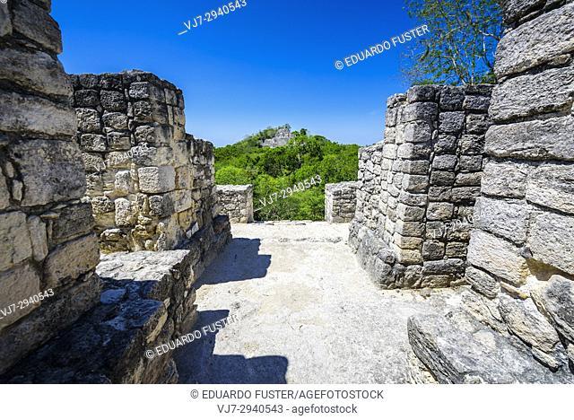 Structure at Mayan city of Calakmul, Calakmul Biosphere Reserve, Campeche, Mexico