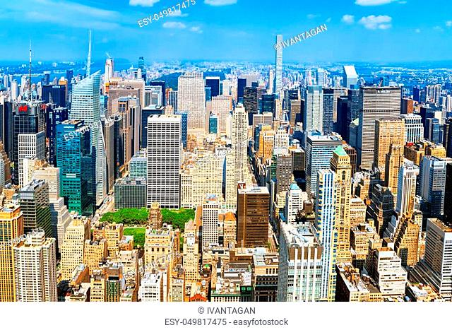 New York, USA- September 05, 2017: View of Manhattan from the skyscraper's observation deck. New York. USA