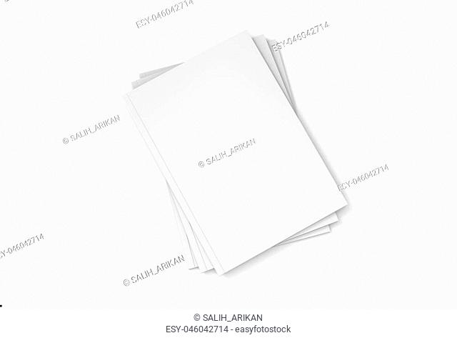 Magazine or brochure mock up isolated on white background. 3d illustrated