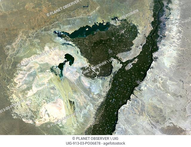 Satellite view of Faiyum Oasis, Egypt. Al Fayyum Oasis is a basin in the desert to the west of the Nile and south of Cairo