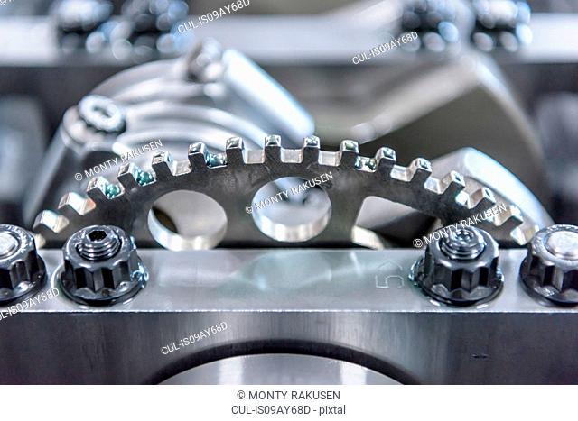 Engine detail in racing car factory