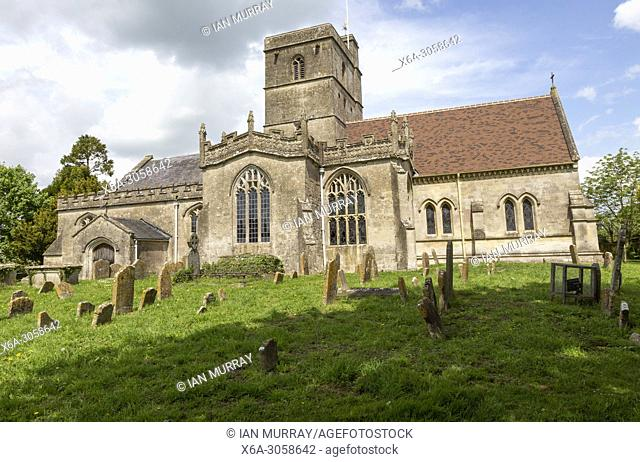 Village parish church of All Saints, All Cannings, Vale of Pewsey, Wiltshire, England, UK