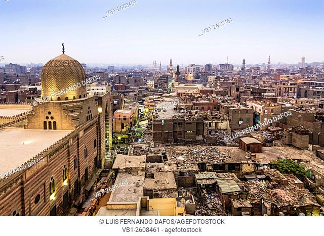 Overview of Islamic Cairo with mosque and derelict roof buildings. Cairo, Egypt