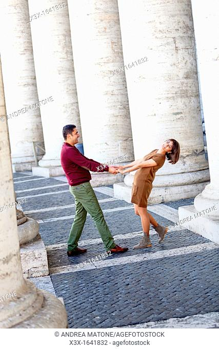 Couple in love at Saint Peter's Basilica Vatican Rome Italy