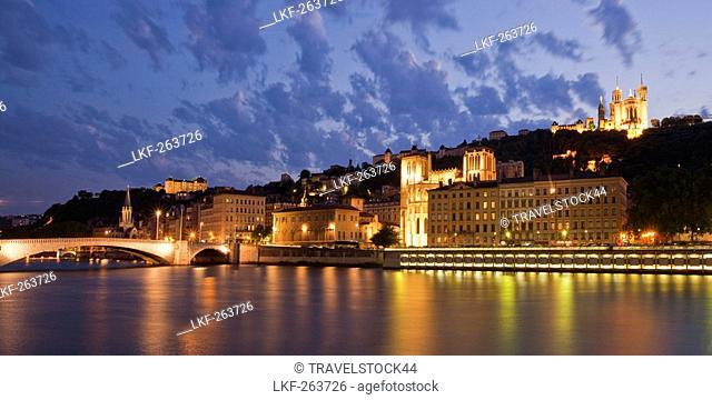 Panorama at night of Saone river, Lyon, Rhone Alps, France