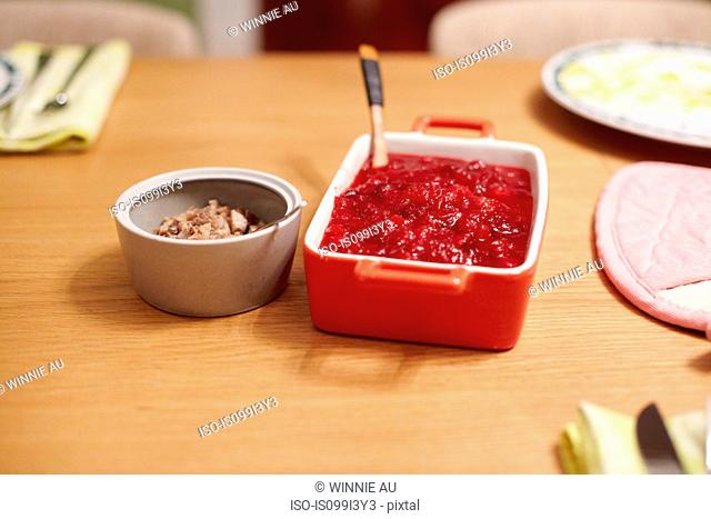 Sauce on table