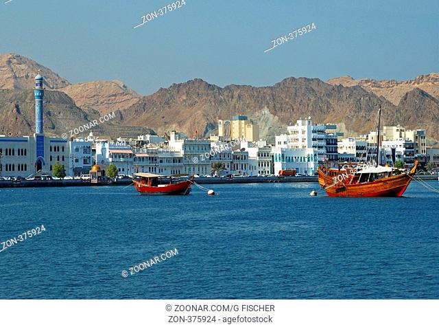 Blick auf den Stadtteil Muttrah, Muscat, Sultanat Oman / View of the Muttrah district of Muscat, Oman, Middle East