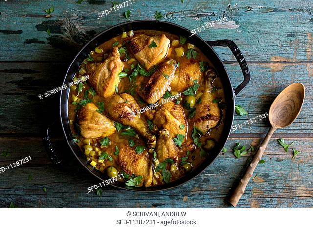 Chicken tagine with olives and rhubarb