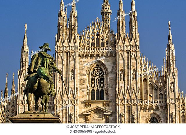 Monument to King Victor Emmanuel II, Milan Cathedral, Metropolitan Cathedral-Basilica of the Nativity of Saint Mary, Duomo di Milano