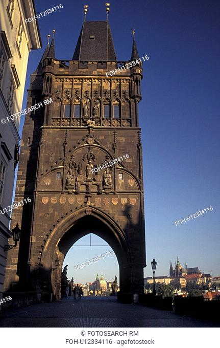 Prague, Czech Republic, Praha, Central Bohemia, Charles Bridge Gate, Old Town Bridge Tower