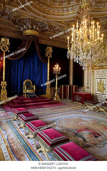France, Seine et Marne, Royal chateau de Fontainebleau listed as World Heritage by UNESCO, throne room