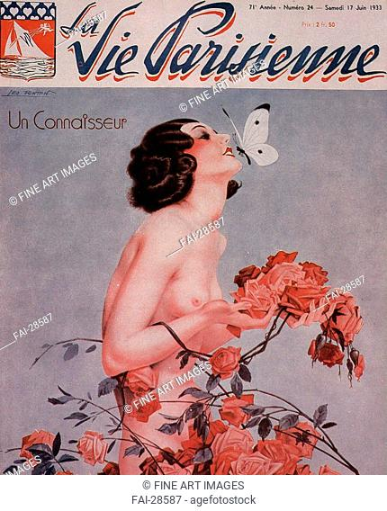 La Vie Parisienne Magazine Cover by Fontan, Léo (1884-1965)/Colour lithograph/Art Deco/1933/France/Private Collection/Nude painting