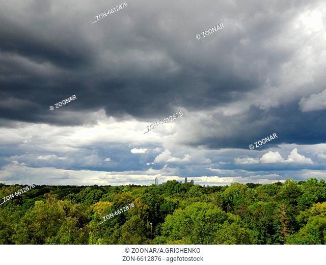 Dark ominous grey storm clouds