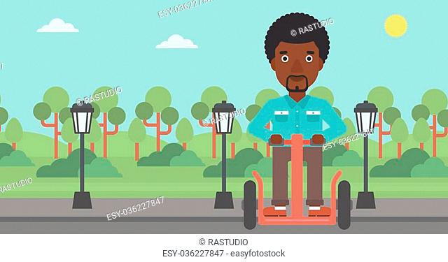 An african-american man riding on electric scooter in the park vector flat design illustration. Horizontal layout