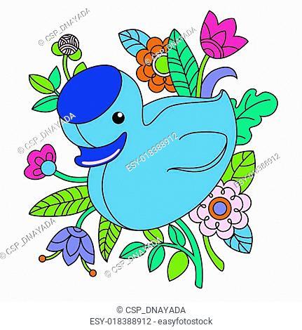 Illustration of cartoon blue duck