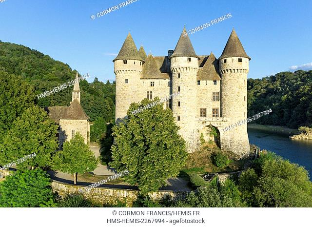France, Cantal, Lanobre, Château de Val, castle of the thirteenth century (aerial view)