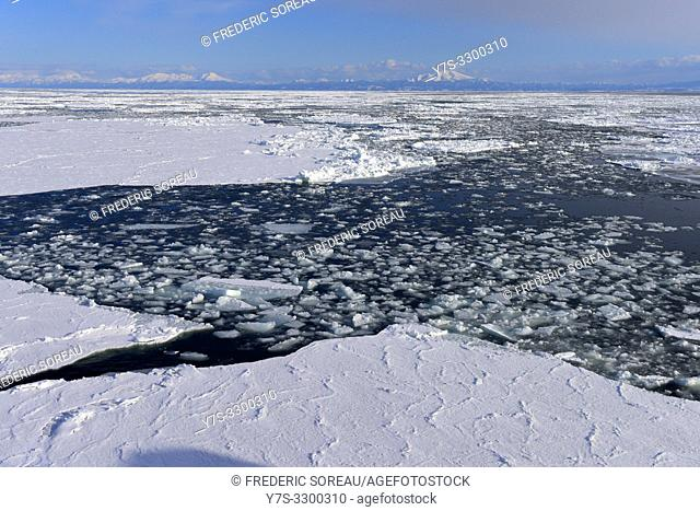 Abashiri ice drift in cold ocean in Hokkaido, Japan, Asia