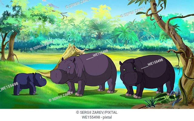 Family of hippos near the river. Mom, Dad and little calf. Digital painting cartoon style full color illustration