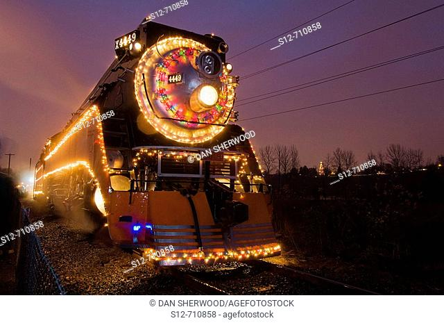 Steam Locomotive 4449 a k a  The Holiday Express with Christmas Lights at Oaks Amusement Park in Portland, Oregon