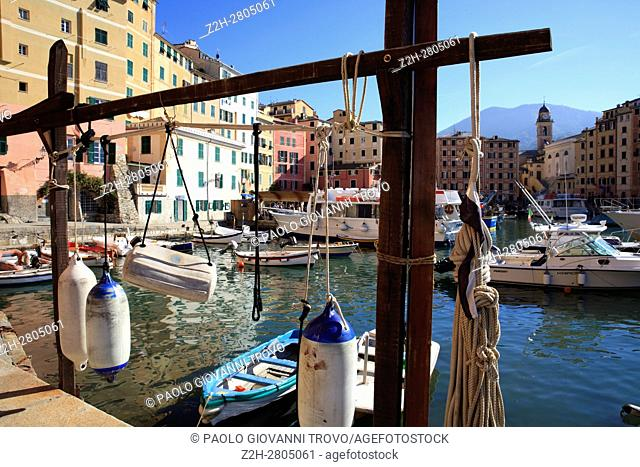 The fishing village of Camogli, Gulf of Paradise, Portofino National Park, Genova, Liguria, Italy