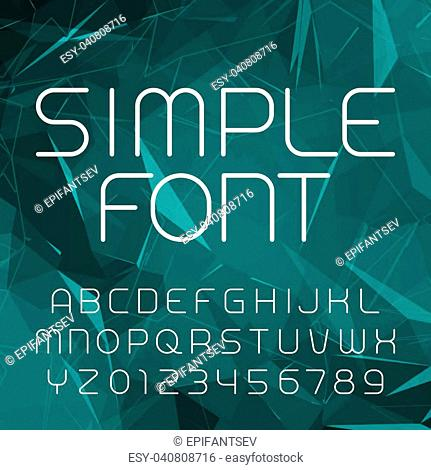 Simple alphabet vector font in outline style. Thin line letters and numbers on a polygonal background. Stock vector typeface for your design