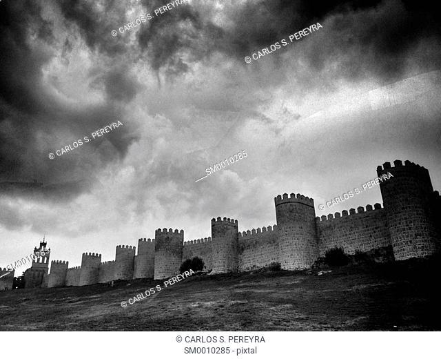 Scenic medieval city walls of Avila, Spain, UNESCO list