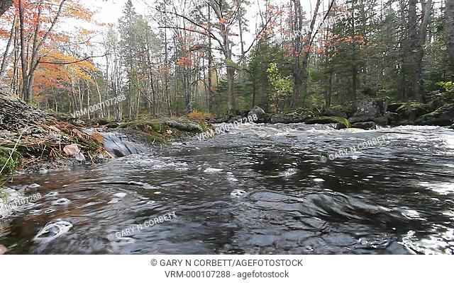 water flowing in a small stream in the Adirondack mountains in New York state USA in autumn
