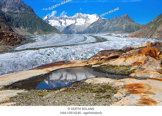 Aletsch glacier, Switzerland, Valais, UNESCO, world nature heritage, mountains, glaciers, rocks, cliffs, reflection, nature
