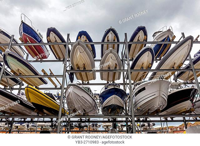 Boats Stored At KB Dry Stack, Camber Dock, Portsmouth, Hampshire, UK