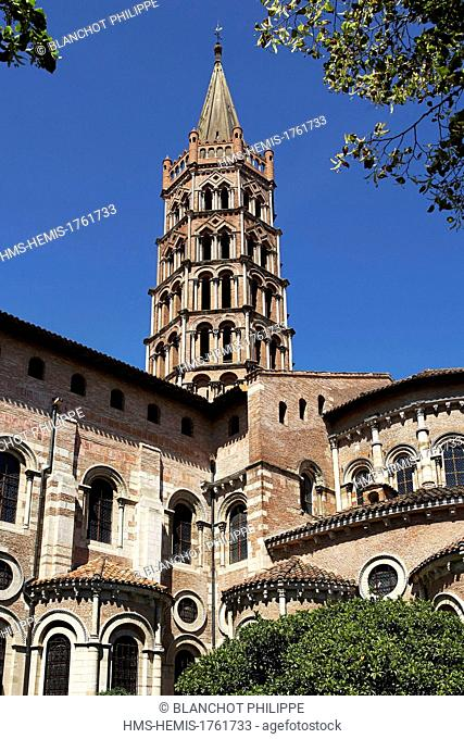France, Haute Garonne, Toulouse, stop on el Camino de Santiago listed as World Heritage site by UNESCO, St Sernin Basilica, bell tower