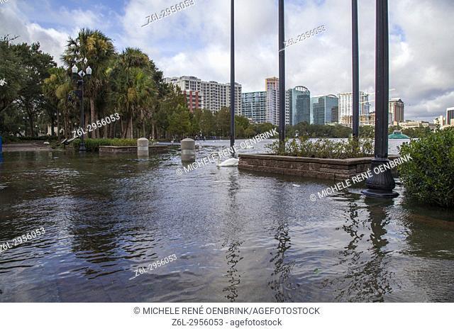 Hurricane Irma damage in historic downtown Lake Eola Heights neighborhood Orlando Florida September 11, 2017