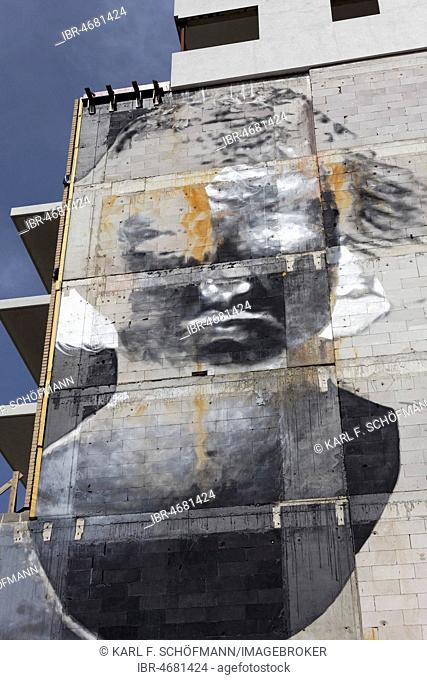 Portrait as Photo Negative, Mural by Argentine street artist Bosoletti, The Crystal Ship Festival 2017, Ostend, Flanders, Belgium