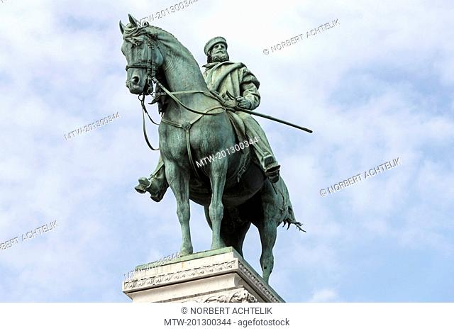 Low angle view of a statue of Giuseppe Garibaldi, Milan, Italy
